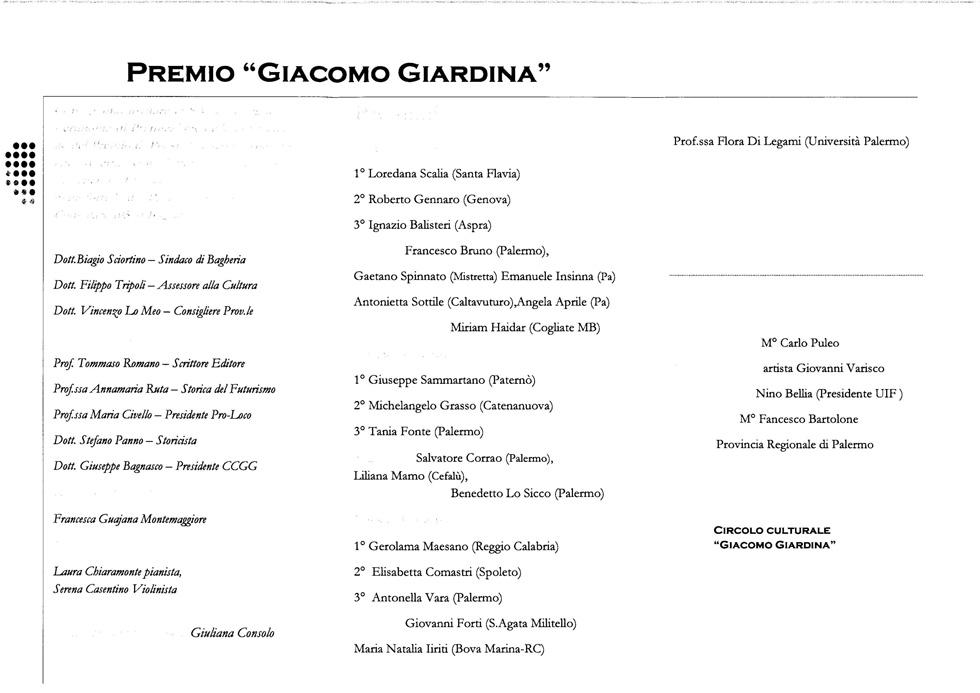 Risultati Premio G. Giardina 2010 2